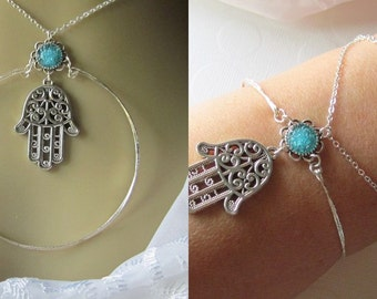 Hamsa Necklace that can be Worn as a Wrap Bracelet