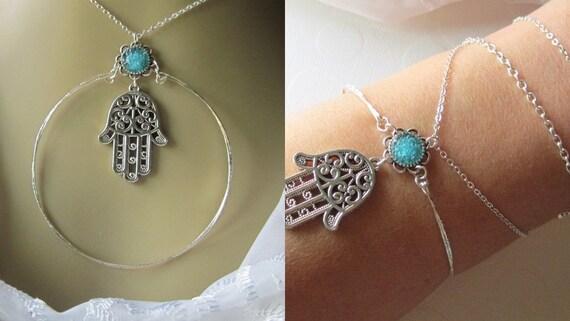 Hamsa Necklace Fatima Hand Necklace Evil Eye Protection Symbol Jewelry Hamsa Charm Necklace Silver Hand Necklace for Jewish Jewelry