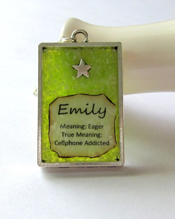 Name and Meaning Necklace, Emily Pendant, Custom Name Jewelry, Personalized Charm, Lime Green Stained Glass, Cellphone Addict Gift