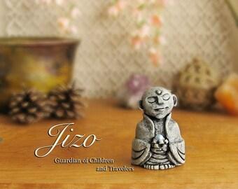 Jizo Statue with Swarovski Crystal Pearl - Guardian of Children, Women and All Voyagers - Bhuddist Bhodisattva Icon - Handmade & Handpainted