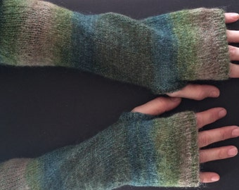 Fingerless Gloves - Arm Gloves - Women's Gloves - Mohair Gloves - Hand-Knit Gloves - Arm-Length Gloves - Green Ombre Color-Blocked Gloves