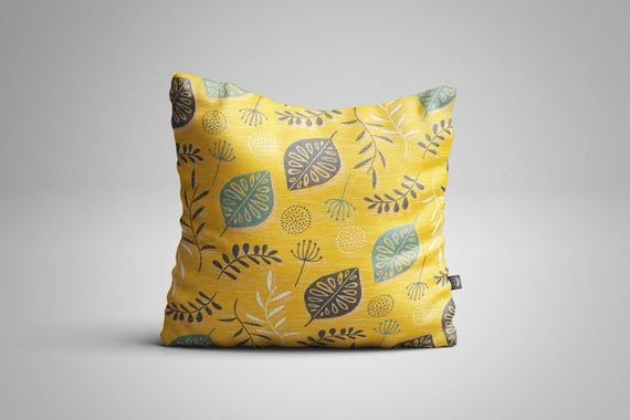 Leaves & Seeds (Yellow) Cushion (Cover only)