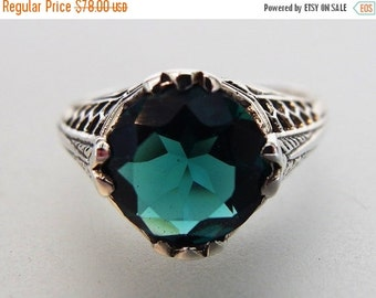 ON SALE Beautiful Deco Style London Blue Topaz Sterling Filigree Ring