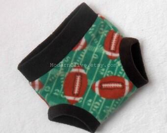 Medium Football Fleece Diaper Cover/Soaker, Ready to Ship for Football Season, Green Brown