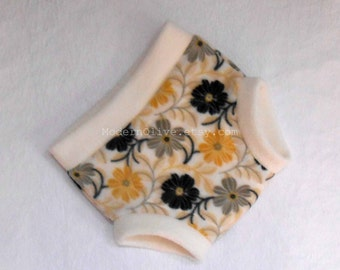 LAST ONE Extra Large Anti-Pill Soaker Zinnia Fleece Diaper Cover/Soaker/Underpant, Yellow Buttercup Black Gray Cream Vegan, Ready to Ship XL