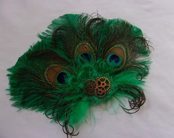 Emerald Green Ostrich & Peacock Feather with Gold Cogs Gears Steampunk Mini Fascinator Hair Clip - Made to Order