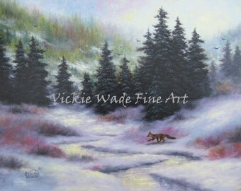 Winter Forest ORIGINAL Painting 18X24, fox, trees, oil painting, snowscene, fox in forest, woods, creek, nature, wilderness, Vickie Wade Art