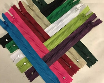 """10 Nylon Coil 9"""" Zippers Multicolor Sewing Crafting Tailor"""