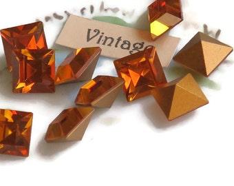 8mm square stones,Vintage Swarovski Stones,vintage Rhinestones,Square Pointed Back,NOS Amber Beveled Gold Foil New Yellow #912H