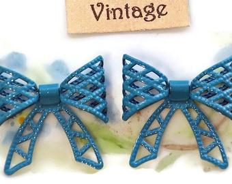 Vintage Enamel Metal Bow Findings Connectors Embellishments Bows Brass Nouveau Blue Enameled 3D. #1109H