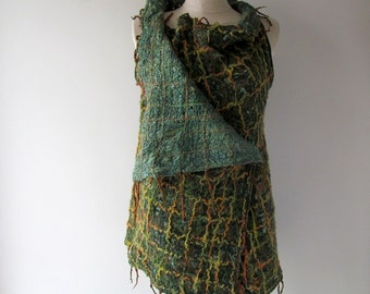 Green Felted jacket, Wool Reversible jacket,  one of a kind vest , Lace women vest , women wool vest lace scarf , Green felted tunic