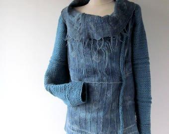 Women Felted jacket Blue felted sweater  Blue jacket  felt coat  felted  women sweater wool women jacket  by Galafilc