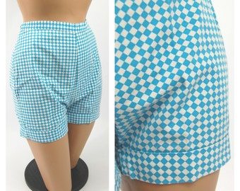 1960s Aqua and white Short Shorts - Diamond Print // Harlequin Pattern // Hot Pants High Waisted