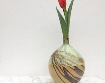 Large Bud Vase with Diagonal Drips, Wabi Sabi Pottery Vessel, Ceramic Centerpiece