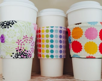 Coffee Cup Cozy, Coffee Cup Sleeve, Cup Cozy, Cup Sleeve, Reusable Coffee Sleeve - Rainbow Dots [40-42]