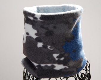 Fleece Neck Warmer / Neck Gaiter / Cowl Scarf - Navy Charcoal Gray Camouflage - Reversible - Kids or Adult Sizes