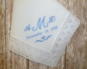 Something Blue Ladies MONOGRAM Anniversary Wedding Hankerchief-Personalized White Cotton Lace Hanky for your Special Occassion