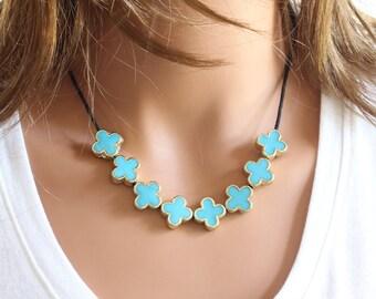 Turquoise Flowers Necklace - Blue Necklace - Quatrefoil Necklace - Celebrity Inspired - Multi Motif Necklace - Blue Simple Necklace