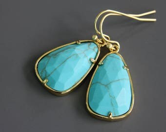 Faceted Turquoise Stone Earrings, Dangle Earrings, Real Stone Earrings, Large Blue Earrings, Celebrity Inspired Earrings, Everyday Earrings