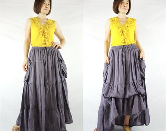 2 In 1 Take Me to Your Heart...Steampunk Short Front/ Long back Tiered Purple Taupe Light Cotton Skirt With 2 Roomy Pockets