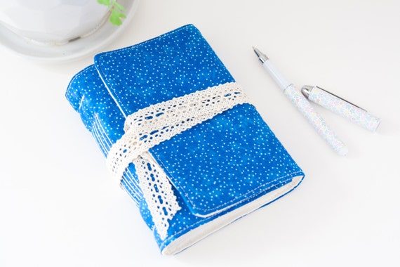 Blue Unlined Writing Journal with Lace. Travel Journal Diary. Mindfulness Journal. Handbound Journal. Gift for Her. Boho Journal