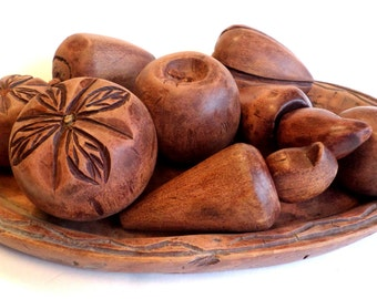 Vintage Engraved WOOD FRUIT and Wood Platter