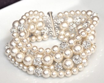 Pearl Bridal Bracelet, Wedding Jewelry Bracelet, Statement Bridal Cuff Bracelet, Bridal Jewellery