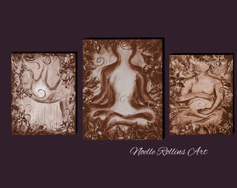 Healing wall artwork trio nuetral wall art set of 3 prints for reiki office or natural health chiropractic office chiropractor yoga doula