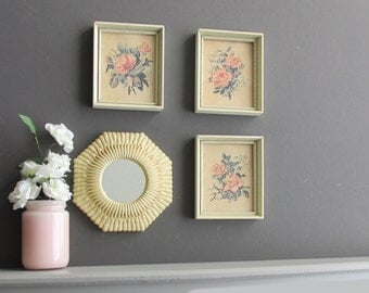 wall collage - Vintage Pink Roses - wall art gallery - 4 pieces