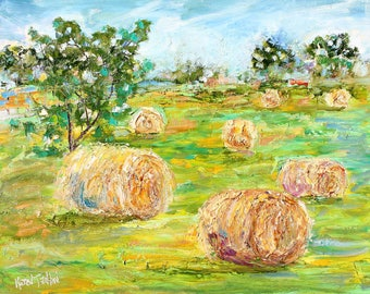 Hay Bales Country Poetry painting in oil landscape palette knife impressionism on canvas 16x20 fine art by Karen Tarlton