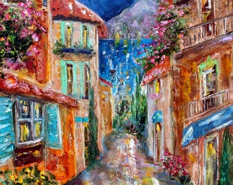 Lake Como Evening painting Italy Original oil landscape palette knife impressionism on canvas 24x20 fine art by Karen Tarlton
