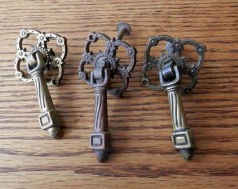 three (3) antique cast brass metal tear drop pull handle vintage originals