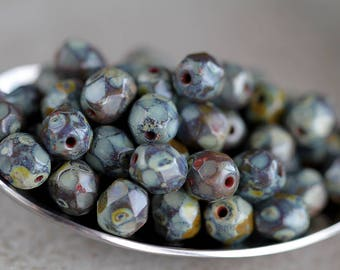 Olive Picasso Czech Glass Beads, Fire Polished Faceted Round Beads, 6mm, Round glass beads (40pcs) NEW