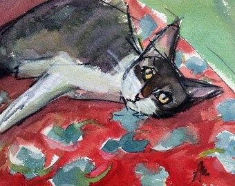 Claire on the Bed Original Cat Watercolor Painting by Angela Moulton 8 x 10 inch with 11 x 14 inch White Mat