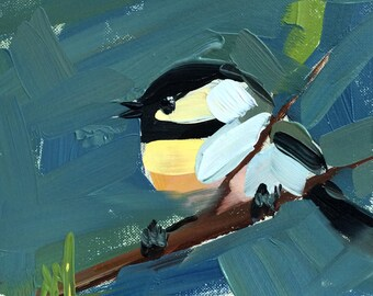 Chickadee no. 906 Original Bird Oil Painting by Angela Moulton 6 x 6 inch Mounted on Panel pre-order