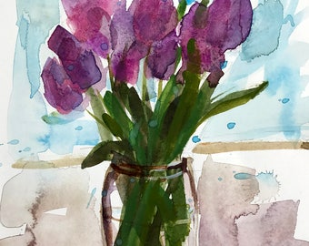 Lavender Tulips Original Floral Watercolor Painting by Angela Moulton 9 x 12 inch with 12 x 16 inch Mat