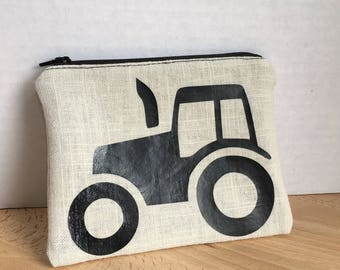 Eco-Friendly Organic Cotton Zip Pouch with Tractor Decal and Organic Pink Fabric with Strawberries