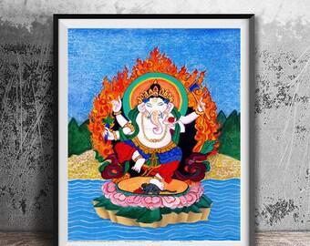 Ganesh, Hindu Buddha, Lord Ganesha Original Watercolor Painting, elephant god, childs room art, yoga art, tibetan thangka style painting