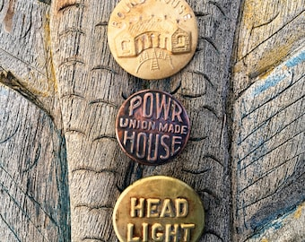 Antique Worker Buttons Round House Railroad Headlight and Union House Buttons