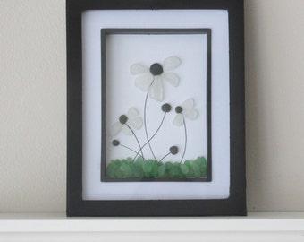 White Flowers Art, Wildflowers Art, Wall Art, Sea Glass Art, Floral Art, Outdoor Art, Flower Garden Art, Glass Home Decor, Beach Decor