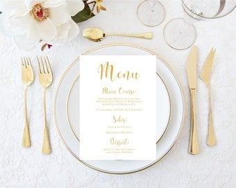 REAL Gold Foil Printed  Menus-Gold Foil Menus-Wedding Menus-Shower Menus