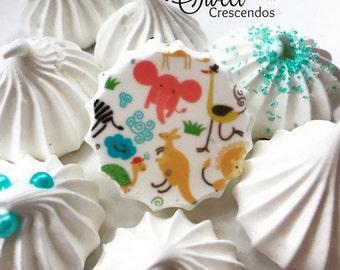 Safari Jungle Meringue kisses- Meringue Cookies- Baby Shower Favors- Wedding Favors