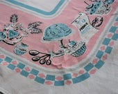 Vintage PINK BLUE Cupcake TABLECLOTH French Bakery White Cotton 1950s Table Cloth Dessert Flour Baking Powder Measuring Spoons Bread Basket