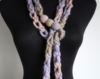 Pale Sage Pink Lilac Lavender Violet Pastel Colors Chunky Cords Ropes Crochet Chains Lariat Bib Statement Necklace with Crochet Wooden Beads