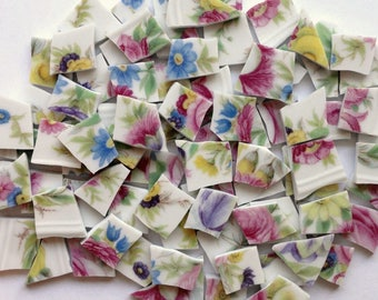 100 Pink Blue Yellow Floral Vintage China Mosaic Tiles//Broken Dish//Mosaic Supplies//Craft//Jewelry