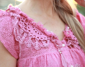 upcycled pink embroidered cotton top  hand dyed vintage cotton crochet lace top lace beaded top reworked rose pink blouse altered couture