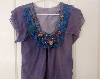 SALE upcycled  small silk top  hand dyed  reworked lavender blouse altered couture