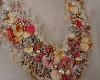 wedding shabby chic necklace, gypsy princess beaded necklace, boho beaded neckpiece,  fairy textile necklace, festival beaded bib necklace
