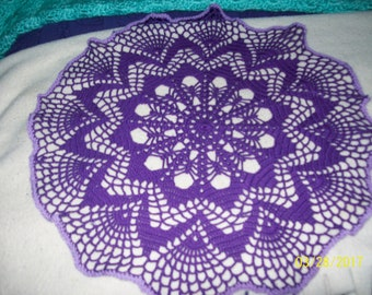 Plum and Lilac round Doily