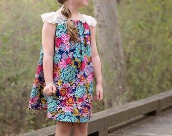 Girls Dress Pattern, Hi Low Sewing Pattern, Boho Sewing Pattern, Easy Sewing Pattern, Long Sleeve Sewing Pattern, Vienna